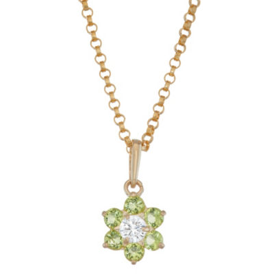 Girls Green Cubic Zirconia 10K Gold Flower Pendant Necklace