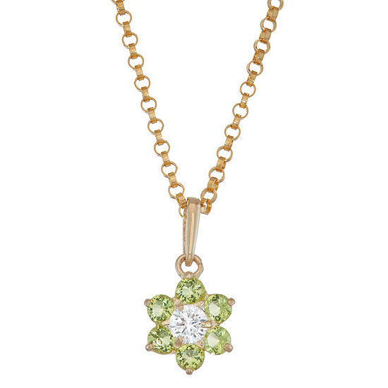 Girls Green Cubic Zirconia 10K Gold Flower Pendant Necklace