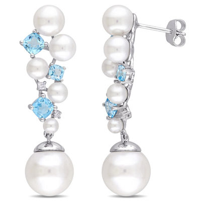 Diamond Accent White Cultured Freshwater Pearl Drop Earrings