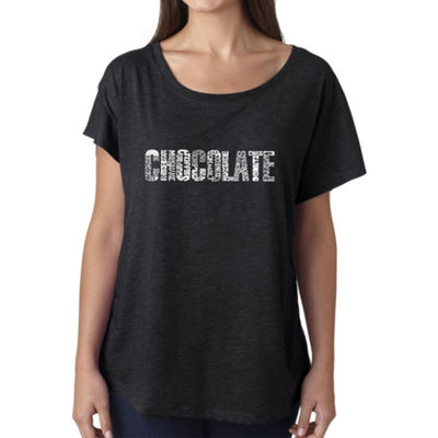 Los Angeles Pop Art Women's Loose Fit Dolman Cut Word Art Shirt - Different foods made with chocolate