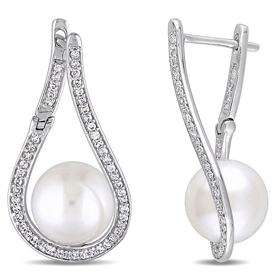 1 3 Ct Tw White Cultured Freshwater Pearl 14k White Gold Drop Earrings