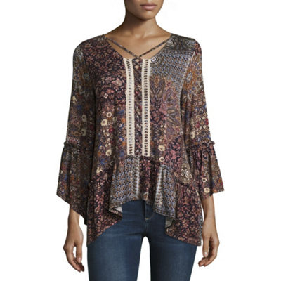 Artesia Long Sleeve Caged Neck Flounce Knit Top