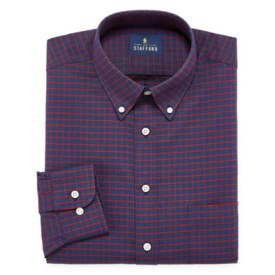 Stafford Travel Wrinkle Free Stretch Oxford Long Sleeve Plaid Dress Shirt