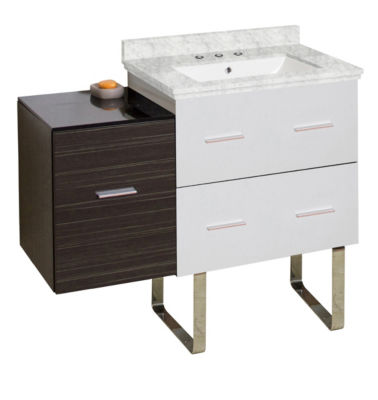 37.75-in. W Floor Mount White-Dawn Grey Vanity SetFor 3H8-in. Drilling Bianca Carara Top White UM Sink