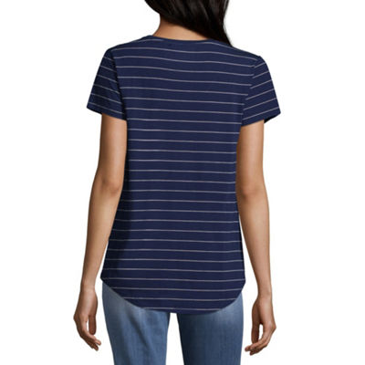 a.n.a Ana Scoop Neck Tee Short Sleeve Scoop Neck Stripe T-Shirt-Womens