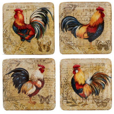 Certified International Gilded Rooster 4-pc. Dessert Plate