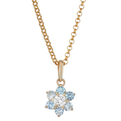 Girls Blue Cubic Zirconia 10K Gold Flower Pendant Necklace