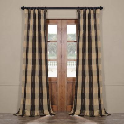 Exclusive Fabrics & Furnishing Suffolk Faux Silk Plaid Rod-Pocket/Back-Tab Curtain Panel