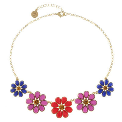 Liz Claiborne Womens Multi Color Flower Collar Necklace