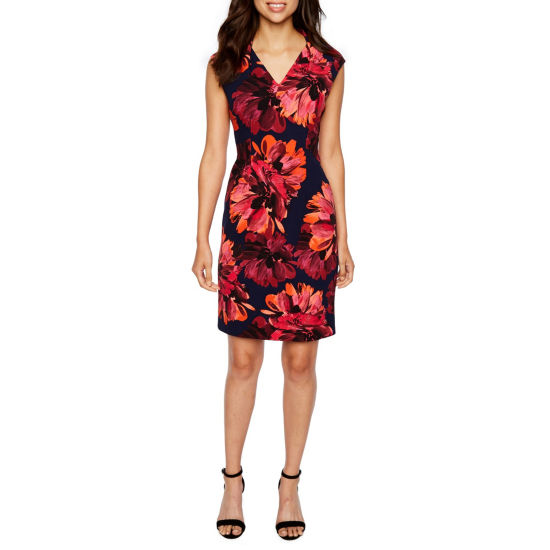 London Times Cap Sleeve Floral Sheath Dress