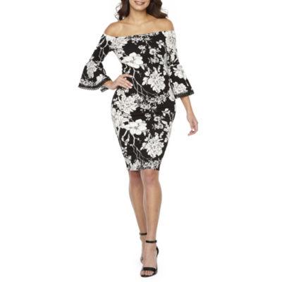 Premier Amour 3/4 Sleeve Off The Shoulder Floral Sheath Dress
