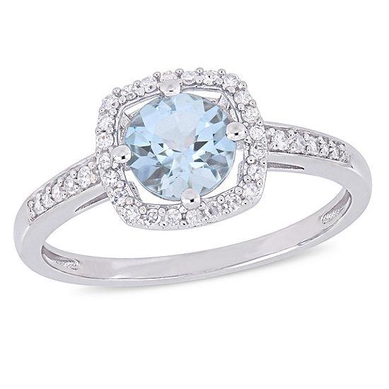 Womens 1/7 CT. T.W. Genuine Blue Aquamarine 10K White Gold Cocktail Ring