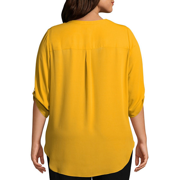 Worthington 3/4 Sleeve V Neck Woven Blouse - Plus
