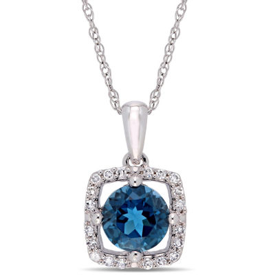 Womens 1/10 CT. T.W. Genuine Blue Topaz 10K White Gold Square Pendant Necklace