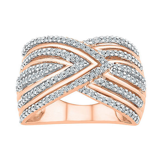 Womens 1/2 CT. T.W. Genuine Diamond 14K Rose Gold Over Silver Cocktail Ring