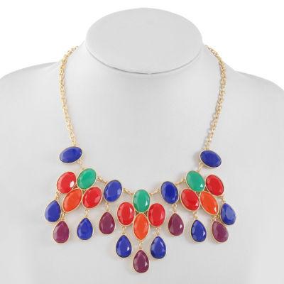 Liz Claiborne Womens Multi Color Oval Statement Necklace