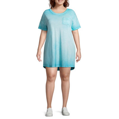 Arizona Short Sleeve T-Shirt Dresses - Juniors