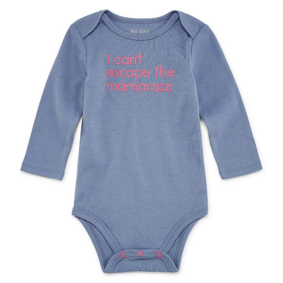 "Okie Dokie ""I Can't Escape the Mama-razzi"" Long Sleeve Slogan Bodysuit - Baby Girl NB-24M"