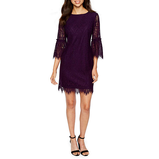 Ronni Nicole 3 4 Sleeve Lace Shift Dress