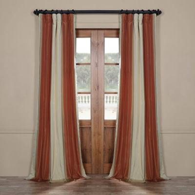Exclusive Fabrics & Furnishing Dorset Luxury Faux Silk Stripe Rod-Pocket/Back-Tab Curtain Panel