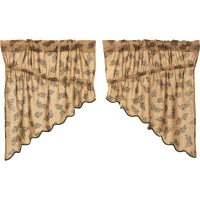 Rustic & Lodge Window Pine Cone Printed Burlap Prairie Swag Pair