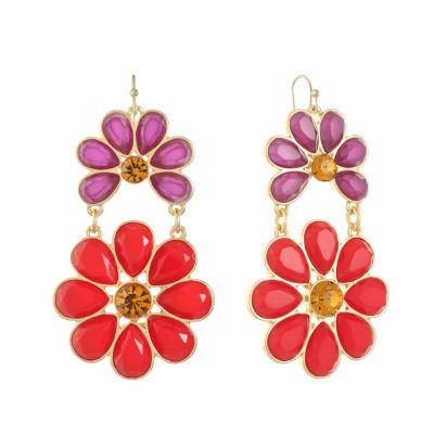 Liz Claiborne Multi Color Flower Chandelier Earrings