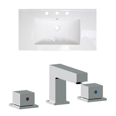 36.75-in. W 3H8-in. Ceramic Top Set In White Color- CUPC Faucet Incl.