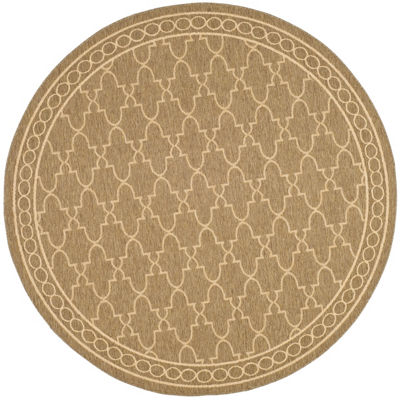Safavieh Courtyard Collection Mitchell Geometric Indoor/Outdoor Round Area Rug