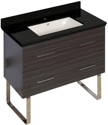 36-in. W Floor Mount Dawn Grey Vanity Set For 1 Hole Drilling Black Galaxy Top Biscuit UM Sink