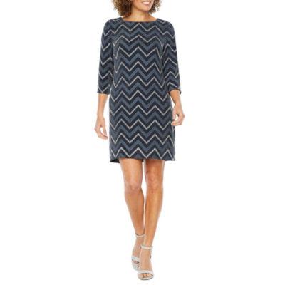 Studio 1 3/4 Sleeve Chevron Print Shift Dress