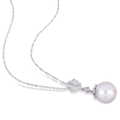 Womens White Cultured Freshwater Pearl 10K White Gold Pendant Necklace