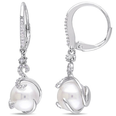 1/5 CT. T.W. White Cultured Freshwater Pearl Sterling Silver Drop Earrings