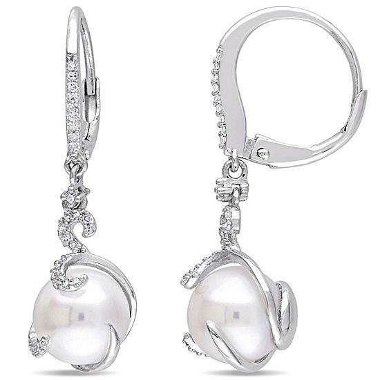 1 5 Ct Tw White Cultured Freshwater Pearl Sterling Silver Drop Earrings