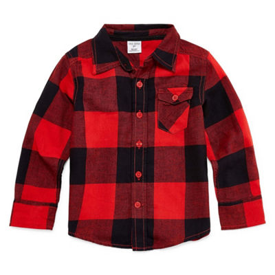 Okie Dokie Long Sleeve Button-Front Shirt-Toddler Boys