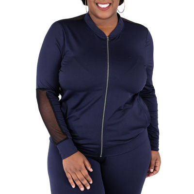 Poetic Justice Solid Color Active Zip Front Track Jacket - Plus