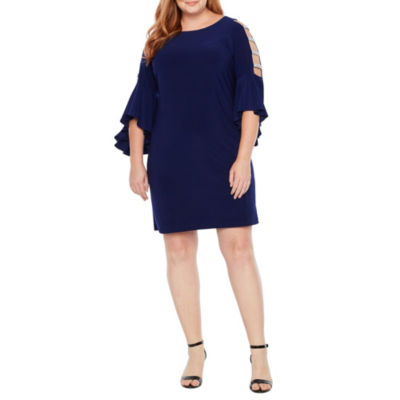 MSK 3/4 Bell Sleeve Embellished Shift Dress - Plus