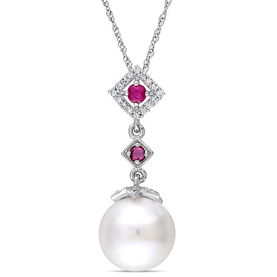 Womens 1/10 CT. T.W. White Cultured Freshwater Pearl 10K White Gold Pendant Necklace