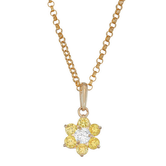 Girls Yellow Cubic Zirconia 10K Gold Flower Pendant Necklace