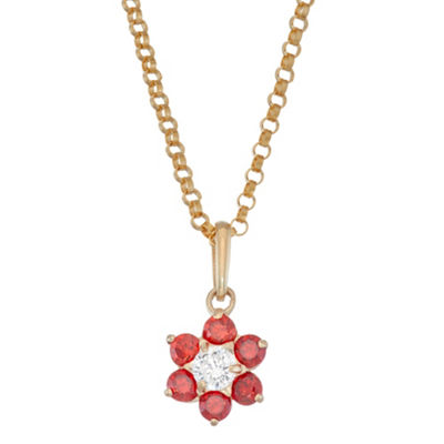 Girls Red Cubic Zirconia 10K Gold Flower Pendant Necklace