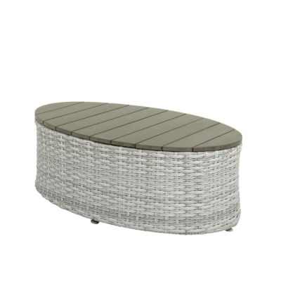 CorLiving Brisbane Weather Resistant Resin Wicker Oval Patio Coffee Table
