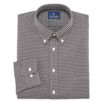 Stafford Travel Stretch Wrinkle Free Long Sleeve Oxford Gingham Dress Shirt