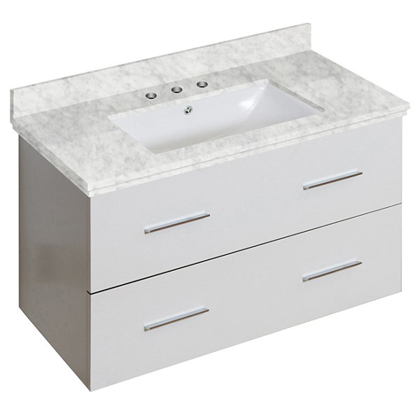36-in. W Wall Mount White Vanity Set For 3H8-in. Drilling Bianca Carara Top White UM Sink