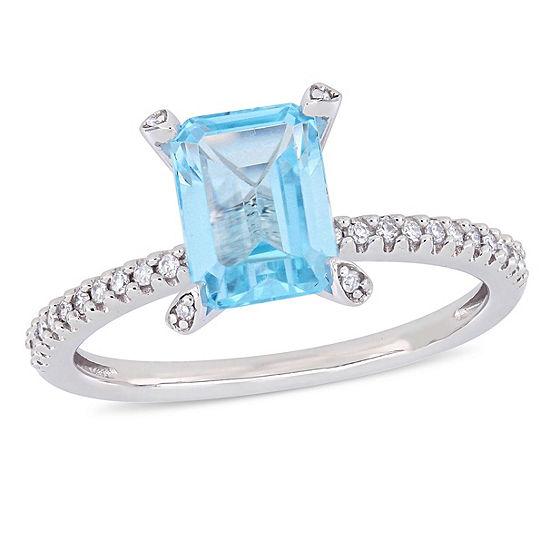 Womens 1 10 Ct Tw Genuine Blue Topaz 10k White Gold Cocktail Ring