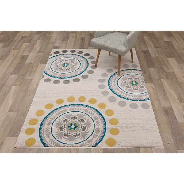 World Rug Gallery Contemporary Circles and Dots Area Rug