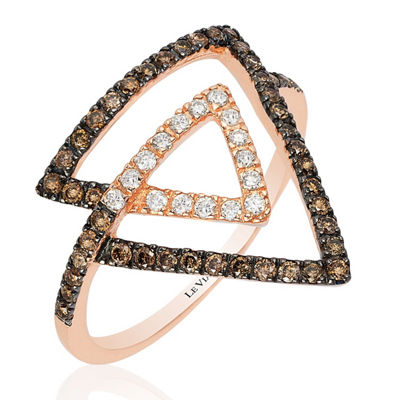 Grand Sample Sale™ by Le Vian® Chocolatier® Chocolate & Vanilla Diamonds™ Ring in 14k Strawberry Gold®