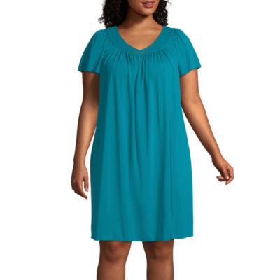 Miss Elaine Short Sleeve Short Gown- Plus
