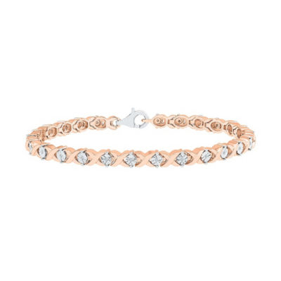 1/10 CT. T.W. Genuine Diamond 14K Rose Gold Over Silver 7.5 Inch Tennis Bracelet