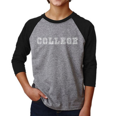 Los Angeles Pop Art Boy's Raglan Baseball Word Art T-shirt - COLLEGE DRINKING GAMES