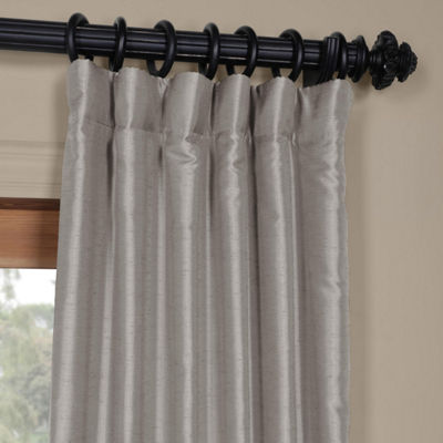 Exclusive Fabrics & Furnishing Elemental Yarn Dyed Faux Dupioni Silk Rod-Pocket/Back-Tab Curtain Panel