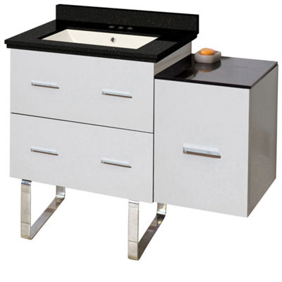 37.75-in. W Floor Mount White Vanity Set For 3H4-in. Drilling Black Galaxy Top Biscuit UM Sink